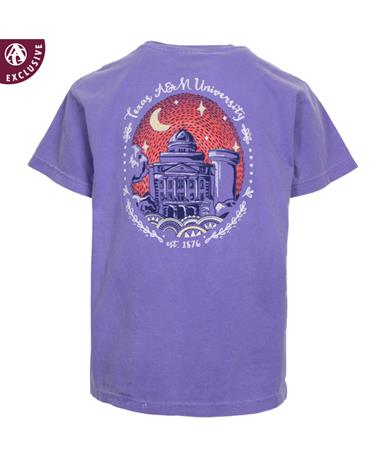 Texas A&M Youth Starry Night T-Shirt - Back Violet