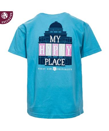Texas A&M Happy Place Youth T-Shirt - Front - Back Sapphire