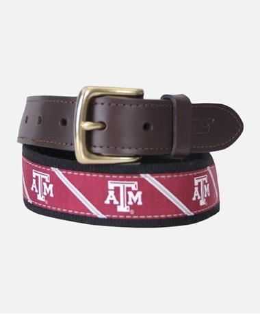 Vineyard Vines Texas A&M Maroon Canvas Belt Maroon