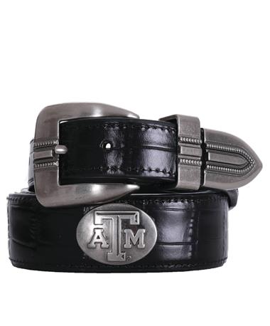 Texas A&M Zepplin Crocodile Concho Belt - Black Black