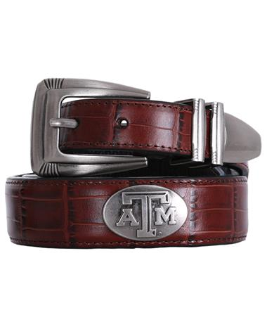 Texas A&M Zepplin Crocodile Concho Belt - Brown Brown