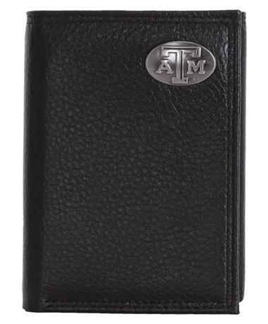 Zepplin Texas A&M Pebble Grain Trifold Black Closed Black