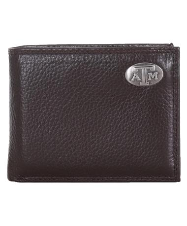 Zepplin Texas A&M Pebble Grain Bifold Closed Brown