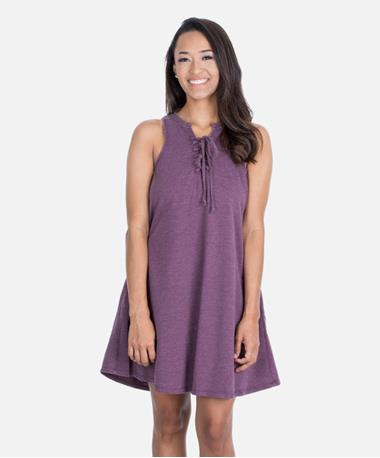 ZSupply All Tied Up Distressed Dress - Wine - Front Wine