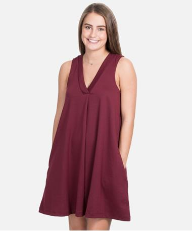 ZSupply The Olivia Ponte Dress - Dark Maroon - Front Dark Maroon