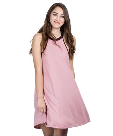 Womens Mei High Neck Dress - Mauve - Front Mauve