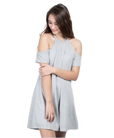 Womens Cold Shoulder Dress - Grey - Front Grey