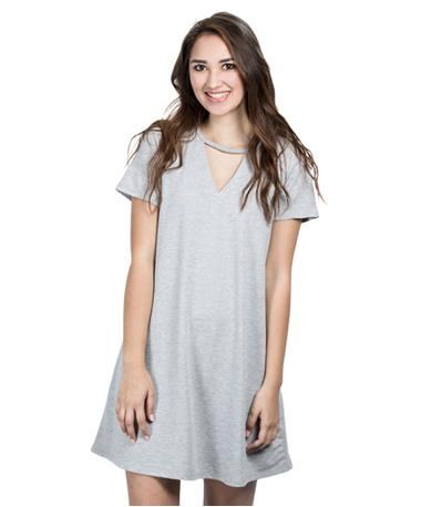 Womens Cut Out Tee Dress - Grey - Front Grey