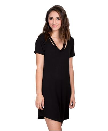 Women`s Cut Out V Neck Dress - Black - Side Black