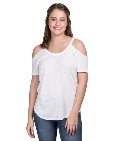 ZSupply Womens Cold Shoulder Tee - White - Front White