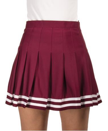 Maroon Cheer Pleated Skirt - Front Maroon
