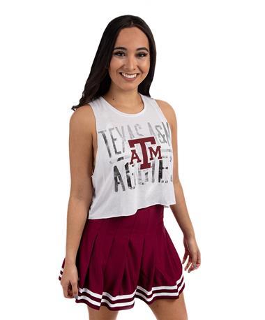 Maroon Cheer Pleated Skirt - Model - Front Maroon