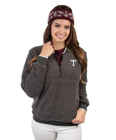 Texas A&M `47 Brand Sherpa Quarter Zip - Front Charcoal