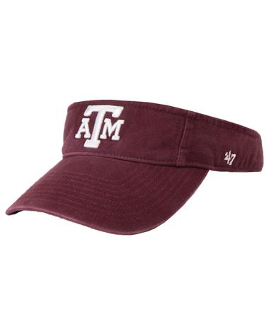 `47 Brand 2018 Twins Block Texas A&M Visor Dark Maroon Front Dark Maroon