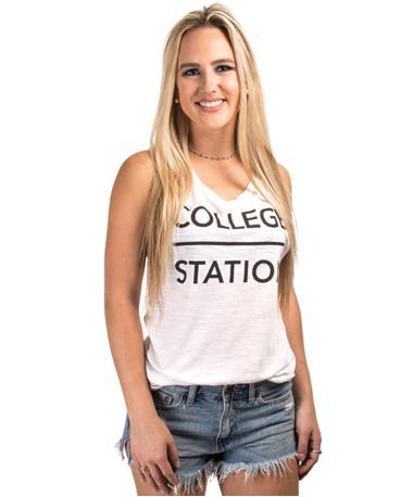 College Station Slope SS TShirt-front White Slub