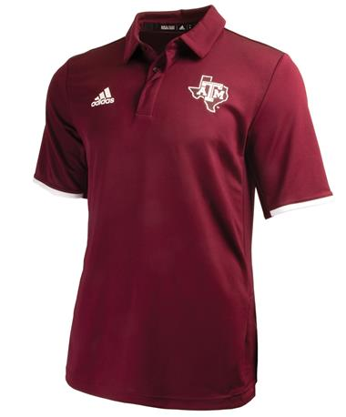 Adidas Texas A&M Aggie Climalite Polo - Maroon - Front Maroon