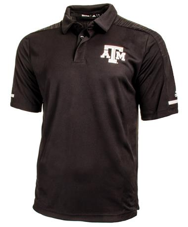 Adidas Texas A&M Aggie Team Coaches Polo - Black - Front Black