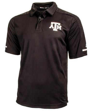 Adidas Texas A&M Aggie Team Coaches Polo - Black - Front Black