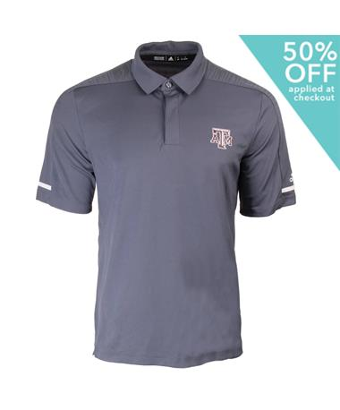 Adidas Texas A&M Aggie Team Coaches Polo Grey