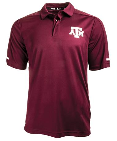 Adidas Texas A&M Aggie Team Coaches Polo - Maroon - Front Maroon