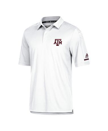 Adidas Texas A&M Aggie Team Coaches Polo - White - Front White