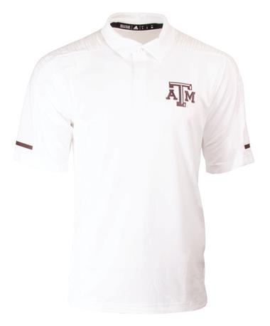 Adidas Texas A&M Aggie Team Coaches Polo White