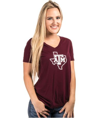 Adidas Texas A M Womens Perfomance Tee-front Maroon