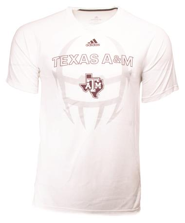 Texas A&M Adidas Helmet Football Tee - Front White