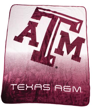 Texas A M Aggie Raschel Throw Blanket-Front Maroon/Gray