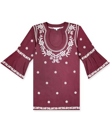 Maroon Escapada Embroidered Montreux Tunic Maroon/White