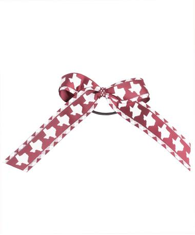 Maroon Birdie Small Ponytail Holder Gingham/Texas