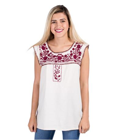 Nativa Mexican Puebla Sleeveless Blouse Natural Front Natural/Maroon