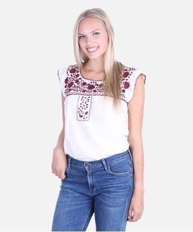 Nativa Mexican Puebla Sleeveless Blouse - White/Maroon - Front White/Maroon
