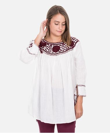 Nativa Maroon & White Round Neck Blouse - Front White/Maroon