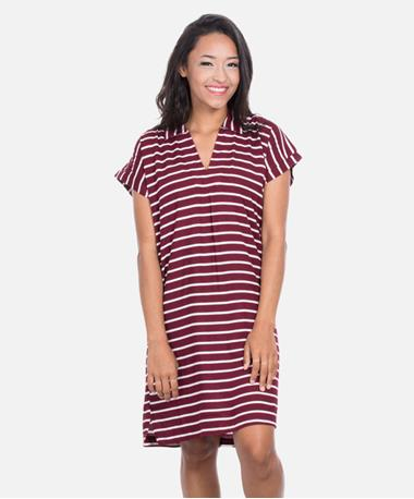 Escapada Tampa Mandi Dress - Maroon/White - Front Maroon/White TAMPA