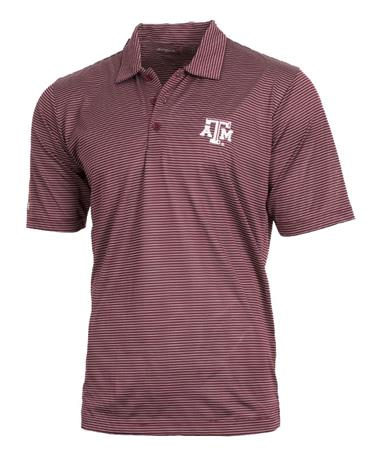 Antigua Texas A&M Quest Stripe Polo Front Maroon/White