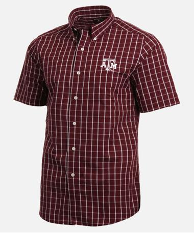 Antigua Texas A&M Endorse Woven Button Down Shirt Front Maroon/White