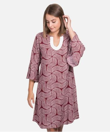Escapada 3Qtr Sleeve Portia Dress - Maroon/White - Front Maroon/White