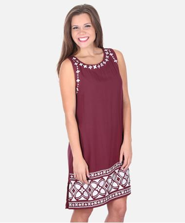 Escapada Embroidered Bethany Dress - Maroon/White - Front Maroon/White