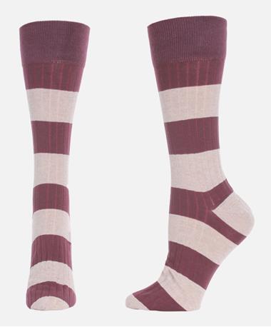 Rugby Stripe Lightweight Socks Port/Stone