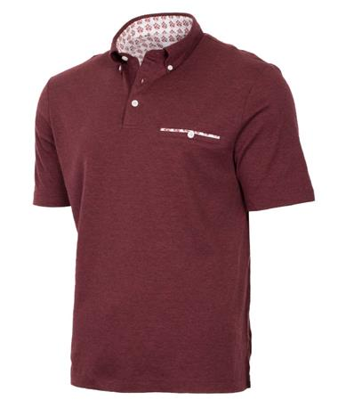Thomas Dean Texas A&M Twill Collar Polo Front Heather Maroon