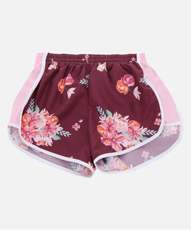 Maroon & Pink Girls Shorts with Flowers Maroon/Pink
