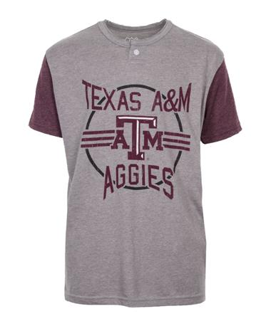 Wes & Willy Texas A&M Aggie Boys Baseball Henley Tee Maroon/Grey