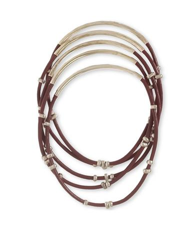 Maroon Studded Bangles - Top Silver