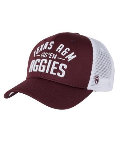 Texas A&M Aggie Trainer Snapback Hat Front Maroon/White