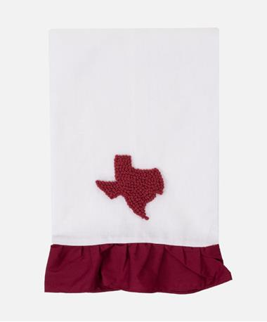 Texas French Knot Hand Towel Maroon/White