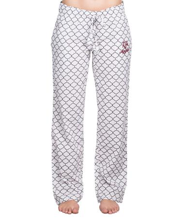 Texas A&M Aggie Morrocan Sleep Pants - Front White/Grey