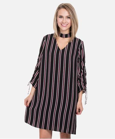 Pinstripe Choker Ruched Sleeve Dress Front Black/Red/White