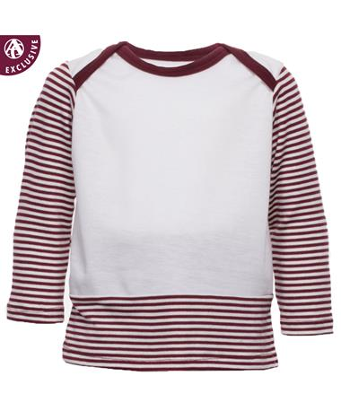 Maroon & White Infant Overlap Boy Top - Front Maroon/White
