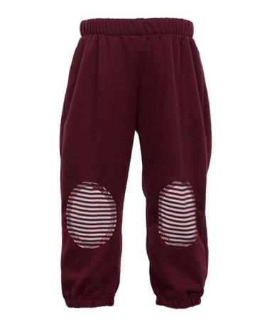 Maroon & White Infant Sweat Pants with Knee Patches Maroon/White